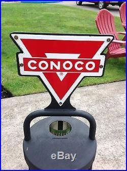Conoco Quart Oil Can Rack, With Original Porcelain Signs
