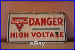 Conoco Vintage Porcelain High Voltage sign with Triangle