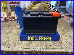 Delco Boy Battery Display, Gas And Oil, Not Porcelain Chevrolet And Ford