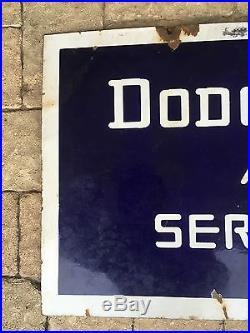 Dodge Brothers Service Station Double Sided Porcelain Vintage Sign Gas & Oil