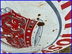 Double Sided 42 Vintage Porcelain Red Crown Gasoline Sign Not A Reproduction