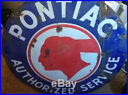 Double Sided Full Feather Pontiac Porcelain Sign Walker 42