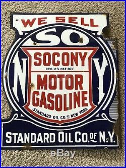 EARLY ORIGINAL Vintage STANDARD SOCONY Porcelain FLANGE SIGN Gas Oil Patina OLD