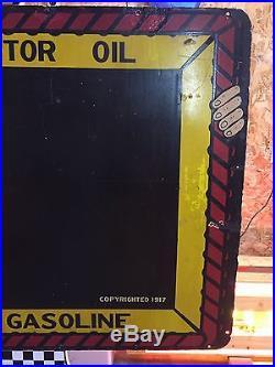 EN-AR-CO Boy Porcelain Sign Gas & Oil