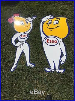 ESSO girl And Boy old porcelain sign oil lubester drop happy Gas No Reserve