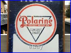 Early 6' Porcelain POLARINE ISO VIS Standard Oil THERMOMETER Gas Oil OLD Sign