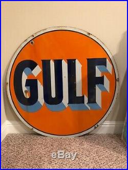 Early & Original Gulf 42 Double-Sided Porcelain Sign from the 1940s