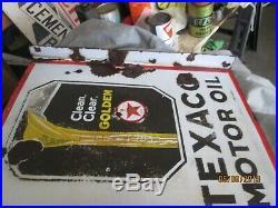 Early Original Texaco Motor Oil Porcelain Flange Sign Early