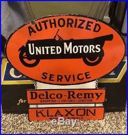 Early Original United Motors Porcelain Sign Delco Remy Klaxon