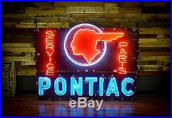 Early Pontiac Dealership Porcelain Neon Sign Gas Oil Station Advertisement RARE