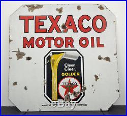 Early c. 1930 Texaco Motor Oil HTF Heavy Porcelain 2-Sided Sign 30 x 30