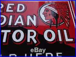 Ex Red Indian Motor Oil Sold Here Porcelain Flange Sign