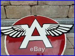 FLYING A porcelain sign 29 heavy convex vintage gasoline oil advertising US set
