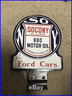 FROM MUSEUM Early 1900's 2-sided SOCONY OIL LUBESTER Porcelain Sign withBracket