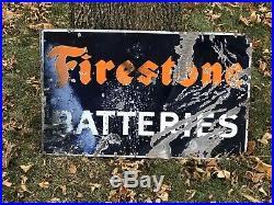Firestone Batteries Original Porcelain Flange Advertising Sign Gas Oil