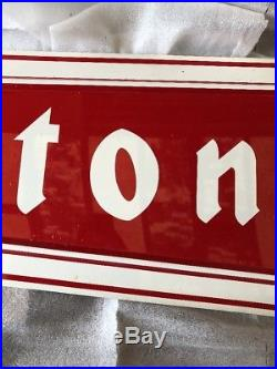 Firestone Original Tin Not Porcelain NOS Sign 6 Ft Red White Letters W Box
