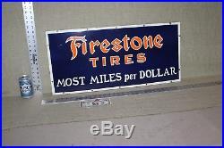 Firestone Tires Porcelain Sign Oil Gas Garage Station Service Cars Trucks