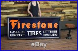 Firestone Tires porcelain steel sign High Grade Gas Station Oil Co Advertising
