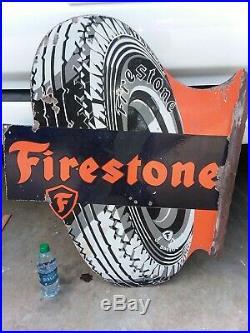 Flange sign Firestone guaranteed original porcelain flange sign 1930s