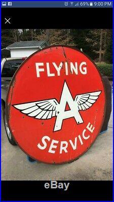 Flying A 6 Ft Porcelain Sign gas oil gas station original sign