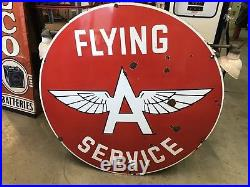 Flying A Porcelain Sign, Gas And Oil