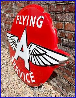 Flying A Service Gas & Oil Automotive Porcelain Sign 100% Authentic By TAC