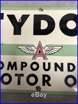 Flying A Service porcelain sign gas station Tydol Motor Oil Texaco Frontier Rare
