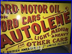 Ford Autolene Motor Oil Porcelain Flange Sign