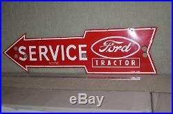 Ford Service Tractor Arrow Dealer Neon Skin Porcelain Sign Gas Oil Farm Barn Ih