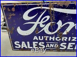 Ford dealership sign Original- 6ftx3ft Large version Rare Size Porcelain