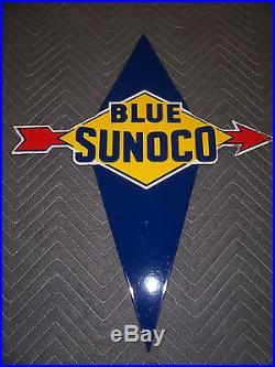 Gas Pump Porcelain Sign Sunoco Near Mint