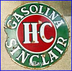 GAS STATION Sinclair HC 48 INCHES Porcelain Sign Double Sided SPANISH RAREST