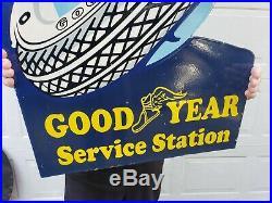 GIANT OLD GOODYEAR SERVICE STATION LARGE PORCELAIN FLANGE SIGN (36x 24)