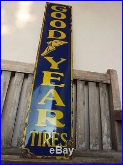 GOODYEAR old porcelain sign, 39 heavy convex tires service racing, rar