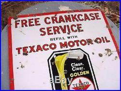 GRAPHIC 1930s Vintage TEXACO CRANKCASE OIL Old 30x30 in. Black T Porcelain Sign