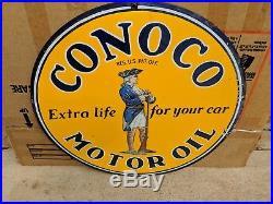 GUARANTEED Original Conoco Motor Oil Gas Porcelain Sign TAC AUTHENTICATED