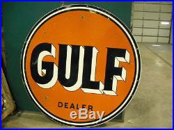 Gulf Porcelain Double Sided Sign
