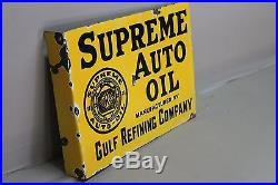 Gulf Supreme Auto Oil Porcelain 2-sided Flange Sign Texas Gas Oil Gar Truck