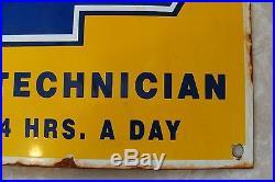 Genuine Chevrolet Dealership Porcelain Factory Trained Service Technician Sign