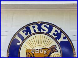 Giant 30 Jersey Creamline Milk Porcelain Sign Bordens Dairy Large Rare