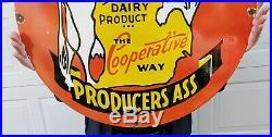 Giant 30 Michigan Milk Porcelain Sign Bordens Dairy Large Rare