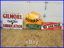 Gilmore Gas Lubrication Porcelain Sign, original double sided