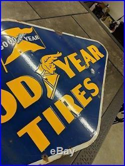 Good Year tires sign 1940 porcelain 2 sided ORIGINAL