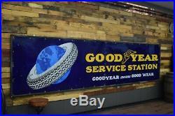 Goodyear Porcelain Sign 14' Massive 1920's Service Station Gas Oil garage RARE