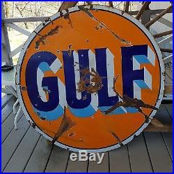 Gulf 42 double sided porcelain Pennzoil 22''x18'', Unleaded/Kerosene 36x5