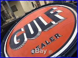 Gulf 66 Double Sided Porcelain Sign