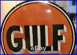 Gulf Dealer 48 Double Sided Oil & Gasoline Rare Pump Porcelain Enamel Sign