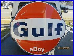 Gulf Gas Station Porcelain Sign Oil Can Pump 6 Foot 1960, Flying A, Sunoco