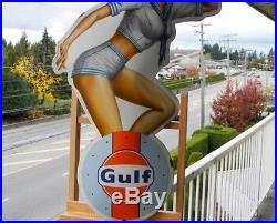 Gulf Le Mans Big Porcelain Sign 28-1/2 Racing Pin Up Girl Gas Motor Oil Garage