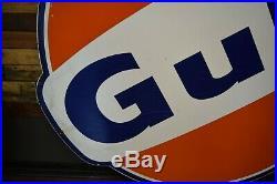 Gulf Porcelain 6' Gas Station Oil Service Garage Sign Porsche Ford Ferrari Race
